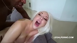Double Bbc for Blonde Wife Cuckold