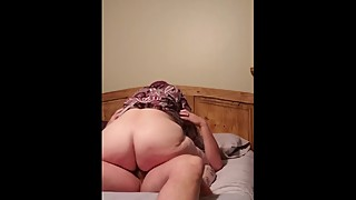 Big butt wife gets home after work, wants to ride