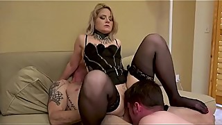 Hotwife mistress fucks her bull and the cuck husband gets the cream