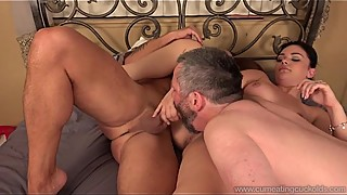 Cum Eating Cuckolds - Kimber Woods fucks in front of her cuckold
