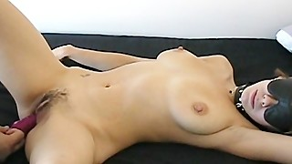 Submissive hairy blindfolded hairy busty wifey gets sex toy in her