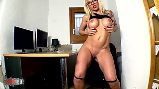 Nice wife blonde with big tits Ayesa X getting naked alone on her webcam