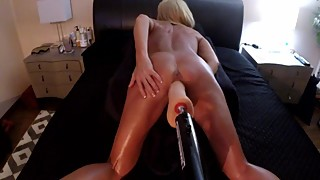HOT WIFE TAKES ON JOHN HOLMES 12 INCH DILDO=DOGGY STYLE