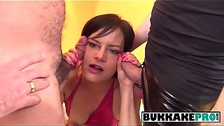 Pixie housewife sucks on multiple loaded hard cocks