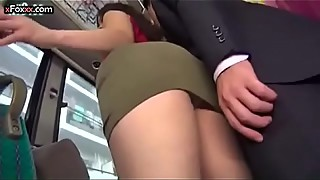 Japanese bus with a busty sexy ass milf