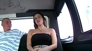 Wench agrees to fuck in a bus