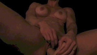 Hot Housewife masturbates in bed with ten inch dildo - Close up at end