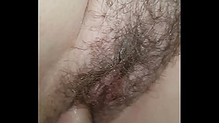 Amateur wife takes thick cock in big wet hairy pussy