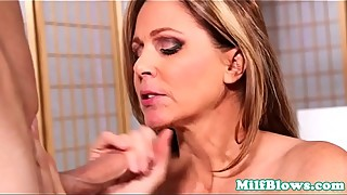 Classy milf cocksucking and gets cum in mouth
