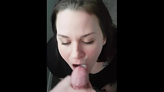 Wife sucks and swallows huge load
