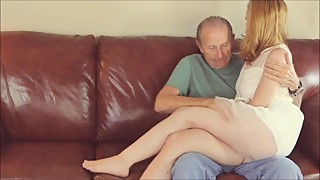 Old Man Kisses Young Wife and Has Dicked Sucked