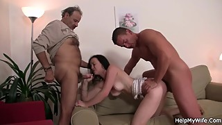His wife sucks another cock and fucked from behind