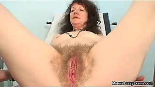 Sexy grandma spreading her hairy pussy