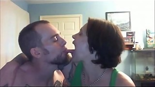 A romantic wife'_s tongue sucked by her boyfriend