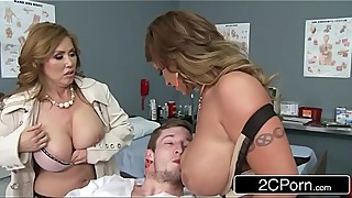 Mistress Kianna Dior &amp_ Wife Eva Notty Having a Blowjob Competition in the E.R.