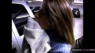 Amateur wife hot facial in parking lot