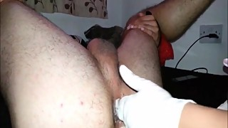 Homemade pegging and fisting attempt by a kinky wife