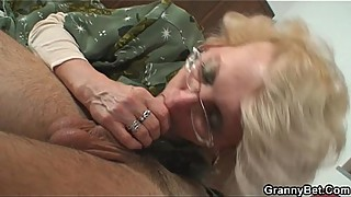 Lonely granny is pleasing an young stud