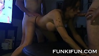 STEPSISTER BANGED HARD BY HER HORNY STEPBROTHERS - FAMILY THREESOME