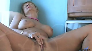 Busty housewife Alex plays with her hairy pussy in the kitchen Porn Video