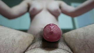 hubby cumming with handjob while pegged by wife