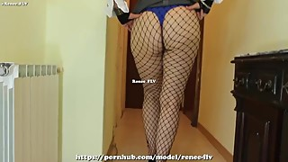 Spanish mature housewife wearing a miniskirt and fishnets
