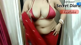 Big Tit's Indian HotWife Drapping Saree wearing a Bikni Top.