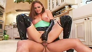 Horny housewife fucked in latex!