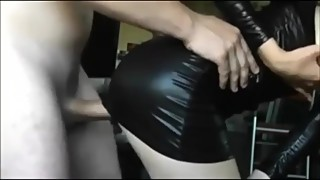 Hubby cumshots on sexy leather dress slutwife