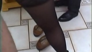 French housewife gangbanged in stockings
