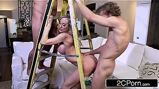 Busty Wife Brandi Love Sucking and Fucking Two Construction Contractors
