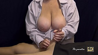 Busty Wife Gives an Amazing Cock Massage Until Perfect Cock Cums in 4K