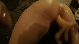 Fuck my wife on the couch with dildo