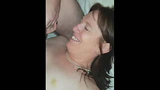 Boyfriend slaps slut wifes face with big cock