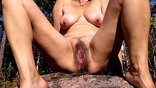 Ape wife's horny wet pussy just before sex outdoors
