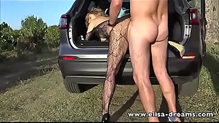 Hotwife gets fucked by a guy outdoors