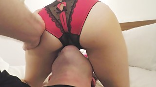 Eating my wife through her crotchless panties