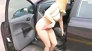 dogging wife in crotchless pantyhose dildo fucks her cunt in fron