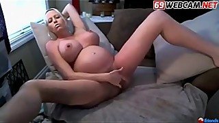 Horny Pregnant Blonde with big tits Cam Show