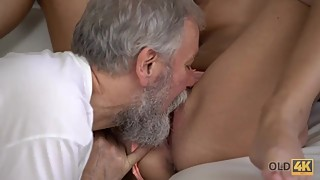 OLD4K. Sensual sex is how old husband and young wife begin new day