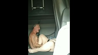 Notty wife having fun in truck while hubby drives