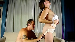 Super sexy busty old spunker enjoys a hard fuck &_ a facial cumshot