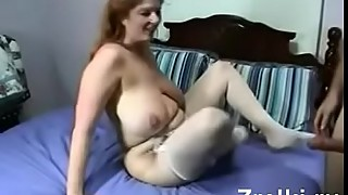 Busty mature milf in stockings and young boy amateur sex