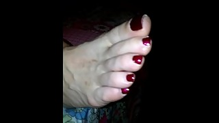 wife sleeping mature toes