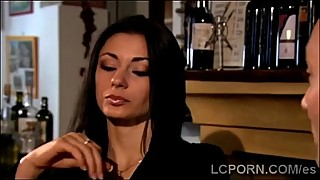 Stunning Spanish MILF eats a big meatbone for diner