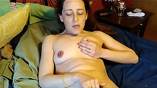 Slutty hot wife spreads pussy masturbation