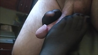 Wife stocking foot job cumshot