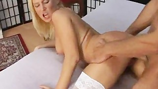 Cute blond housewife in stockings rough part1