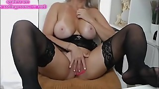 Blonde milf stockings squirt