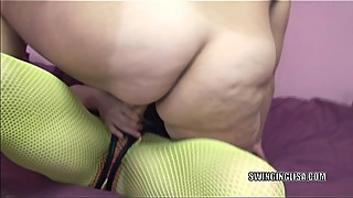 Shelly fucks mature lesbian Liisa with her strapon